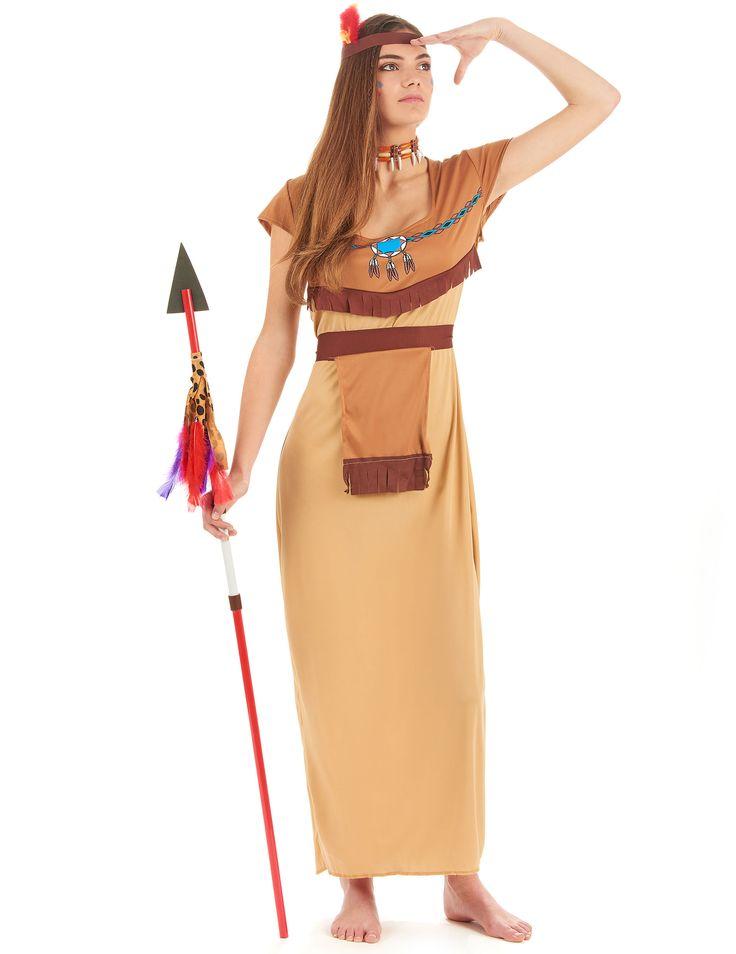 Disfraz de india para mujer: Disfraz de india para mujer compuesto por un vestido largo y una corona. El vestido es de tonos crema y tiene flecos marrones bajo el pecho, así como joyas indias estampadas. Es de material...