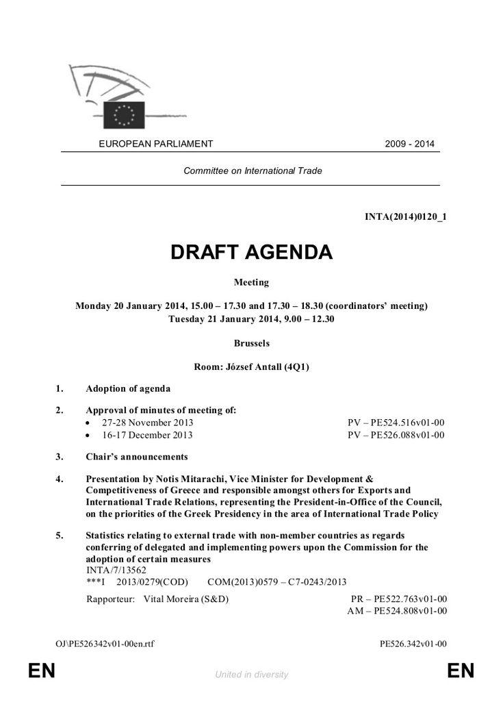 Draft Agenda for the next INTA meeting: 20 & 21 January 2014 by Notis Mitarachi via slideshare