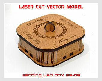 Caja pequeña de madera. Caso USB boda boda USB caja, historia de boda, historia de amor, modelo de vector de corte láser, descarga inmediata, WS-06