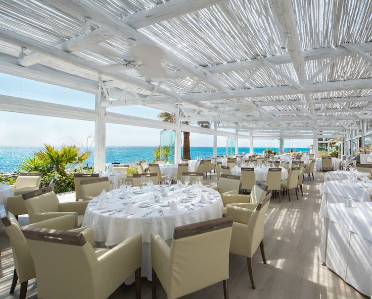 Modern whitewash pergola at El Oceano Restaurant & Hotel, Marbella, Spain
