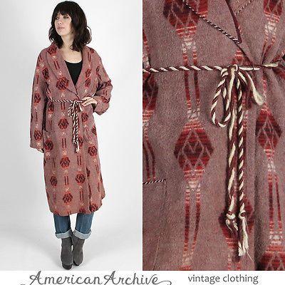 Vintage-40s-Beacon-Robe-Smoking-Jacket-Southwestern-Indian-Blanket-Duster-Coat
