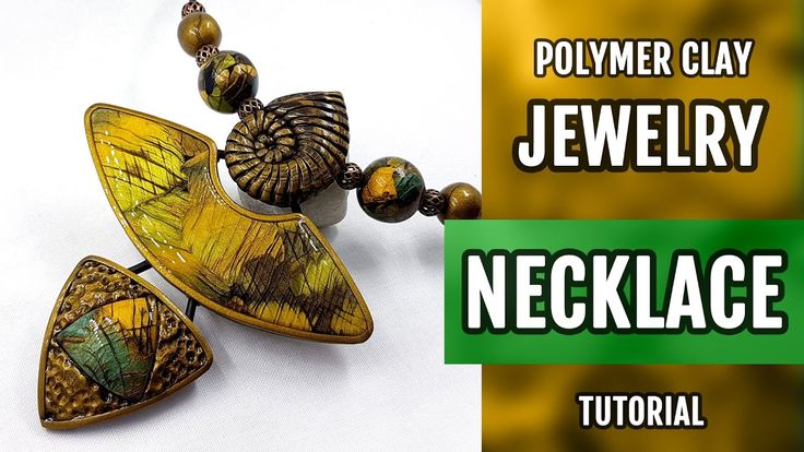 DIY Unusual Polymer Clay Necklace with Faux Labradorite. How to make sty...