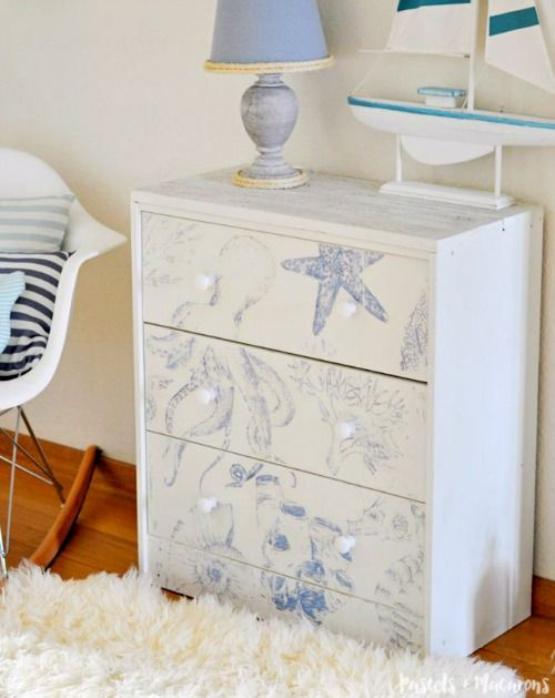 Ikea Rast Chest Hack with Coastal Sea Life Images Transferred with Chalk Paint... Featured on Completely Coastal: http://www.completely-coastal.com/2017/07/ikea-rast-chest-hack-with-coastal-sea-life-image-transfer.html