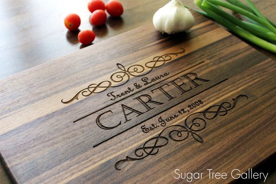Personalized Cutting Board, Engraved Cutting Board -10 x 13 Inches - Established Family Signs Kitchen Decor Shown in Walnut Wood