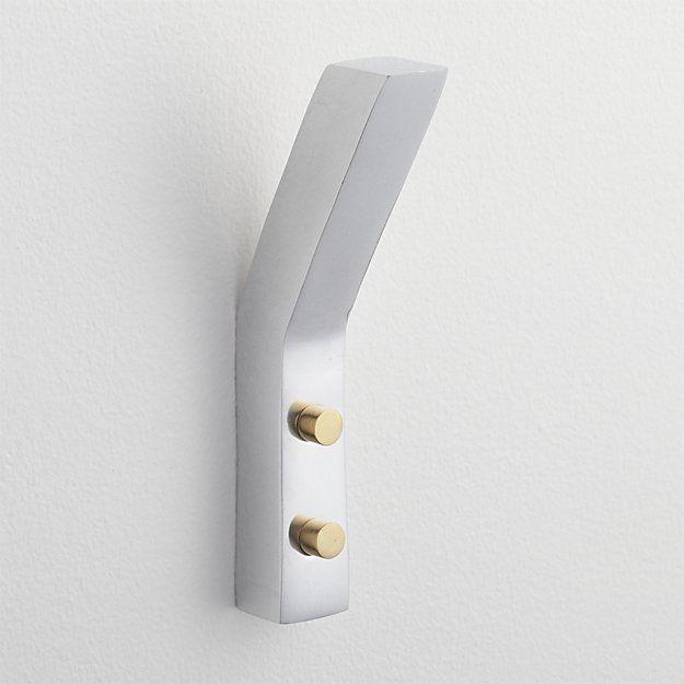 leaning edge aluminum wall hook | CB2