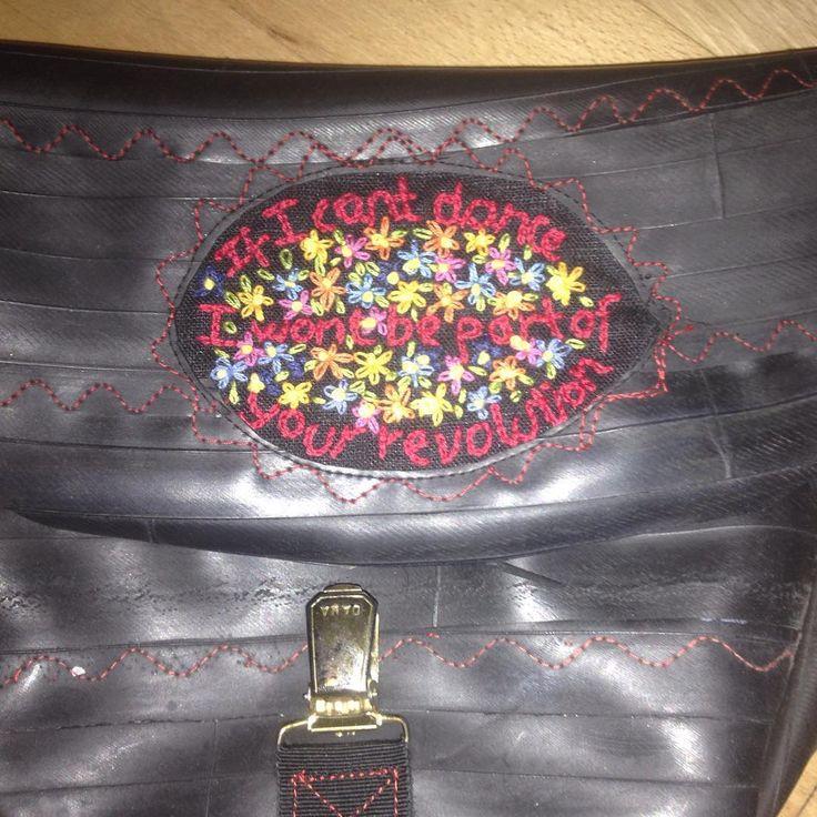 #schnirkelcraft #feminism #embroidery #emmagoldman #anarchism #biketubebags