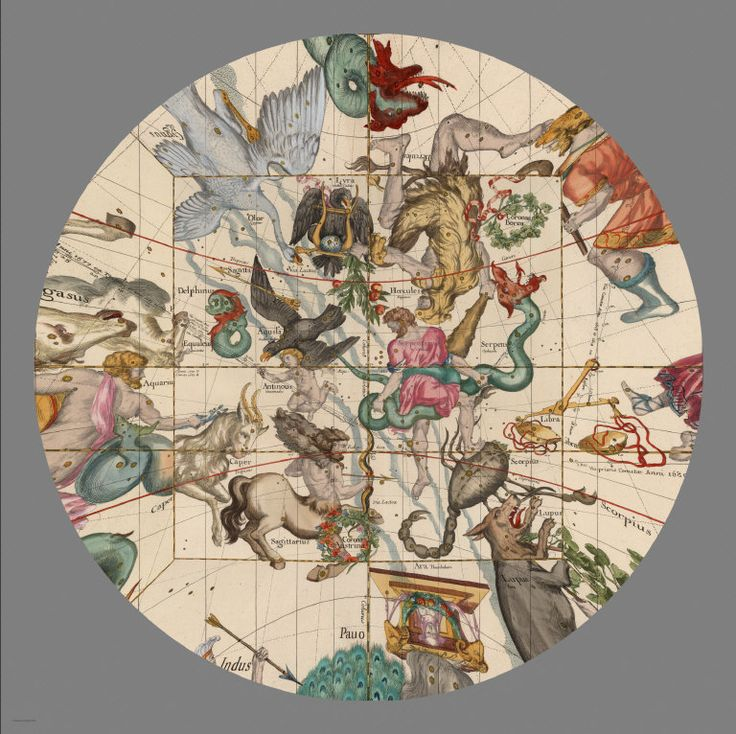 David Rumsey Historical Map Collection | Mapping the Heavens in 1693. Instead of visualizing the map plates as a cube, we can still keep the gnomonic projection but show it differently in GIS, here centered on Plate 5, but showing the parts of the four plates that adjoin Plate 5 (the gnomonic projection in GIS limits our view to about 130 degrees to avoid extreme distortion at the edges)