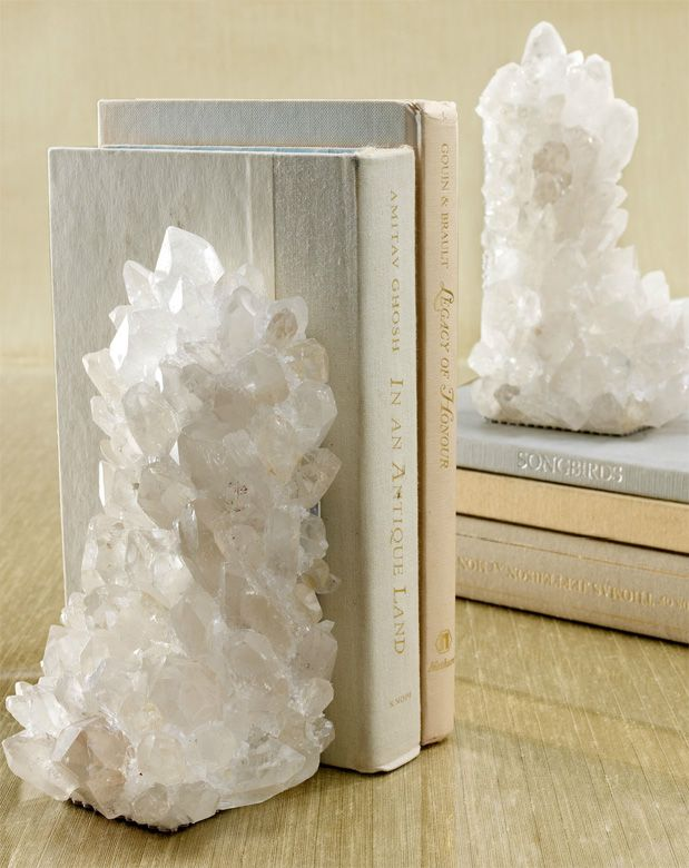 Quartz crystal bookends. My books would be so happy with these!