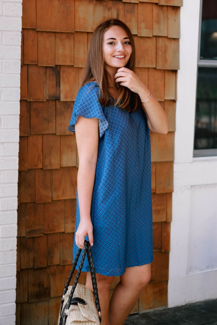 Memorial Day Picnic Attire - The Coastal Confidence - Preppy Shift Dress for $35