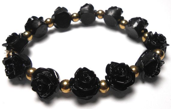 Beaded Roses Stretch Bracelets  Arm Candy  Handmade by ShopJosette