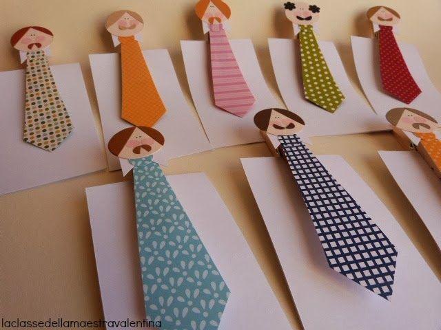 Altre cravatte... ma con diversa utilità.   Applicate su una molletta la testa di papà con cravatta, e avrete dei simpaticissimi e co...