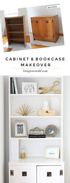 Outdated office furniture transformed into a sleek, sophisticated storage system! Classic black and white with touches of gold glam - Click for details at LoveGrowsWild.com