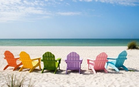 reminds me of the chairs people have on the beach...sigh :)Beach Chairs, Beach Scene, Adirondack Chairs, Summer Vacations, Gulf Shore, At The Beach, Colors Chairs, Beach Life, Sanibel Island