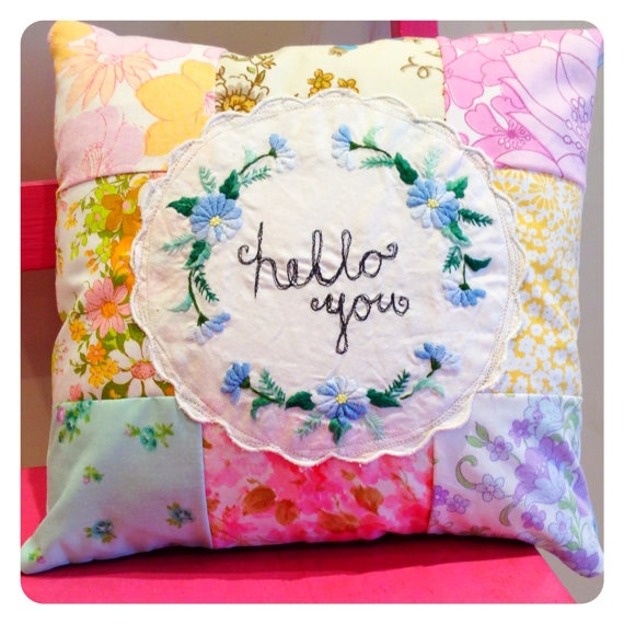 Cosy Patchwork Cushion by MessyMissKate on Etsy, $28.82