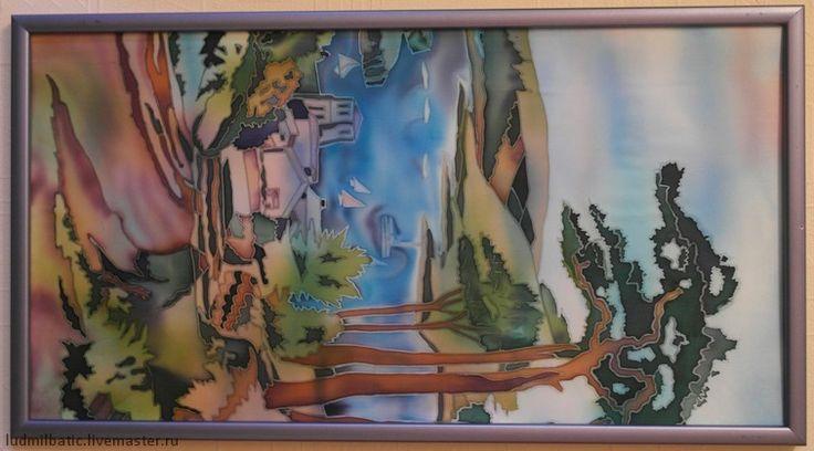 Дорога к морю. Картина 'Дорога  морю' выполнена на натуральном шелке в технике горячий батик. Размеры картины: 50х30. Пейзаж выполнен в натуральных зеленых, коричневых и голубых тонах. Отлично подойдет для любого интерьера.