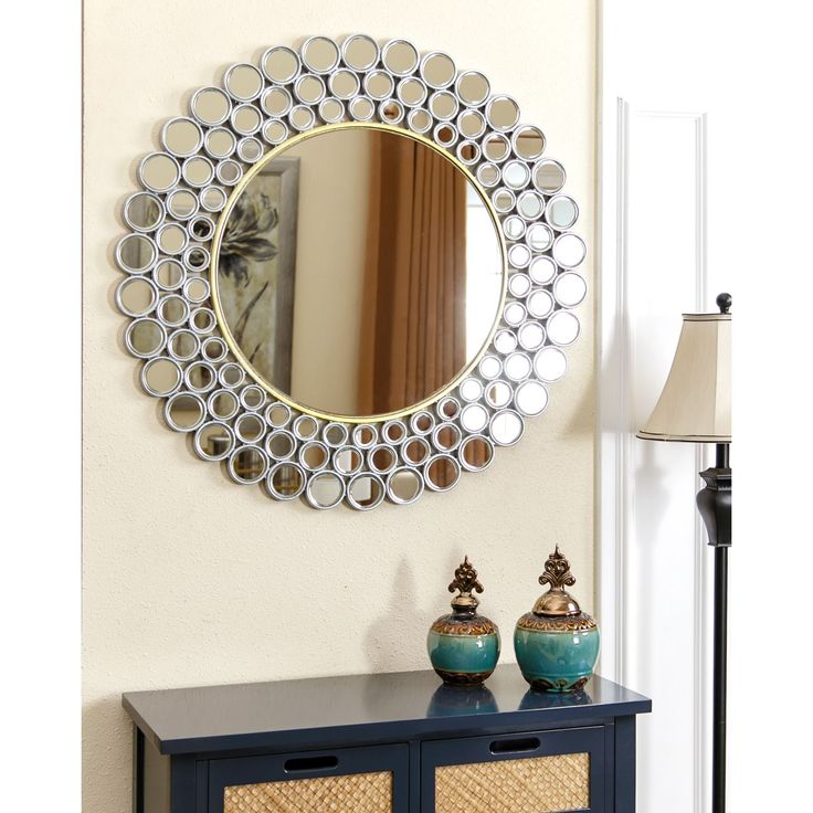 Abbyson Wilshire Round Wall Mirror Silver Gold Mirrors