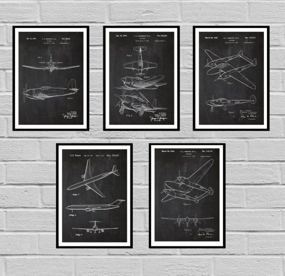 Airplane Patent Set Of 5 Aircraft Poster Airplane Art Aviation Etsy Airplane Wall Art Airplane Wall Aviation Decor