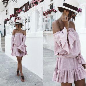 Sukienka Sowastore, kolor Różowy - MODNAPOLKA.pl #offshoulderdress #pinkdress #minidress