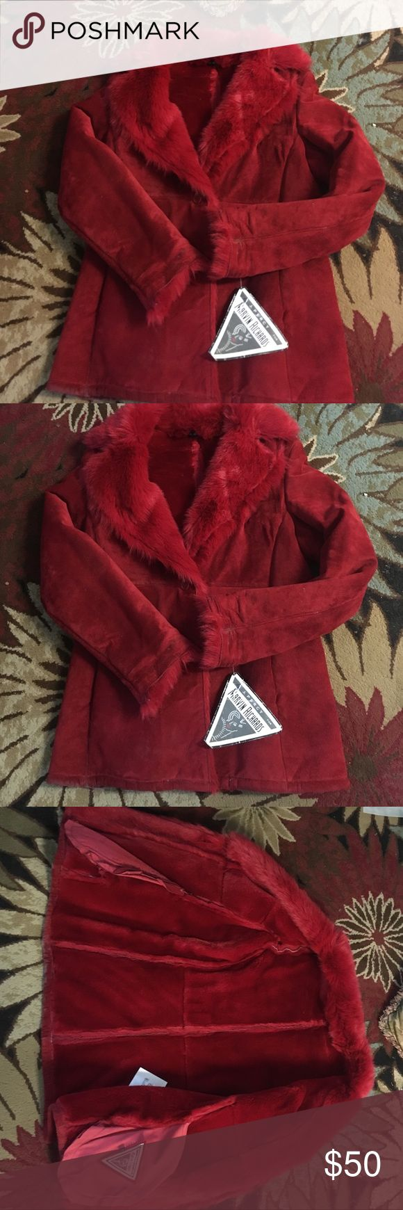 Gorgeous Ruby colored suede and faux fur coat! This coat is amazing and very very warm!  Vintage from Victoria's Secret catalog by Marvin Richards! NWT and has been kept in plastic.  I live at the beach now and can't wear it... Extra buttons. Marvin Richards Jackets & Coats