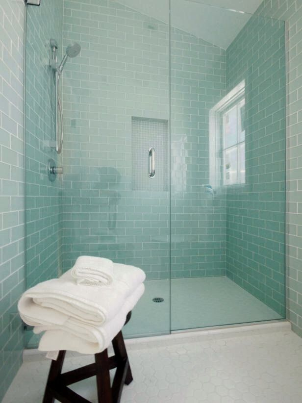Walk In Shower With Sea Glass Tile Blue Bathroom Tile Mint Bathroom Glass Tile Bathroom