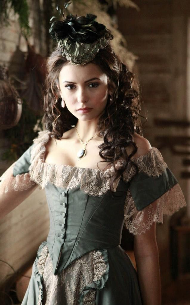 Vampire Diaries Katherine Pierce (Katerina Petrova) 1864 Shop Dress Replica - From only £7.25 per week. Taffeta and corded lace Victorian dress with steel boned bodice. £340 - https://www.mentalxs.com/products/cpvd01katshop