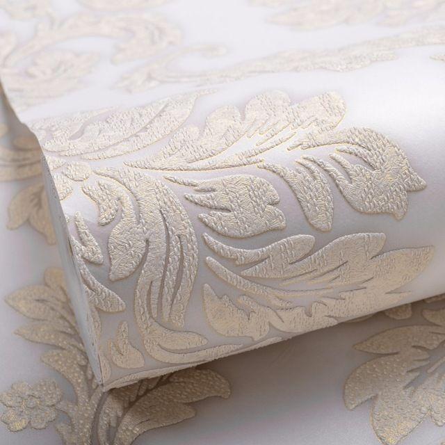 Alívio Papel de Parede Textura De Luxo Clássico moderno 3D Em Relevo Damasco Wallpaper Rolo Para Quarto & Sala Bege Ouro Luz