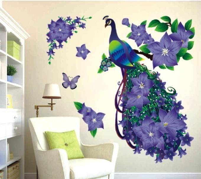 removable 3d purple peacock flower wall stickers imitation crystal