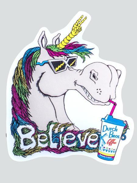 Dutch Bros Coffee Unicorn Believe Sticker