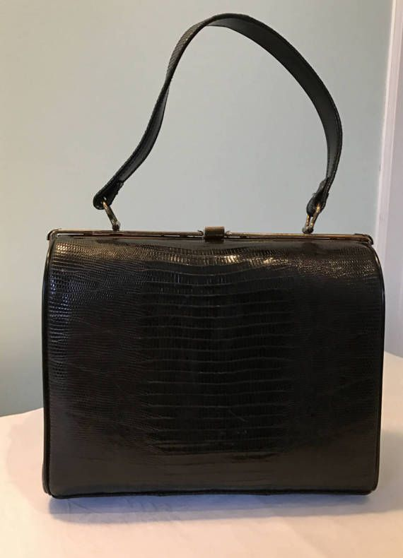 Vintage Pillbox Style Top Handle Crock Leather by LyndiLane