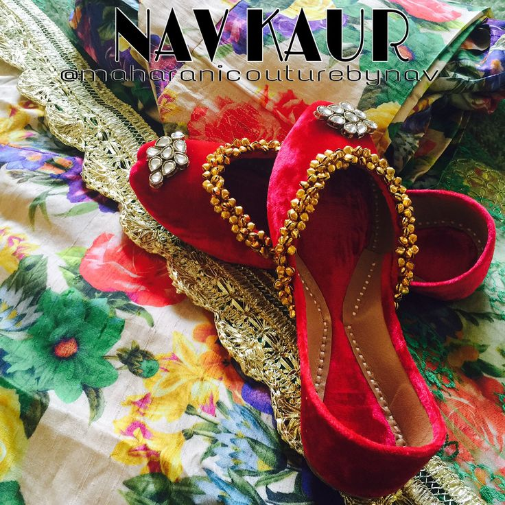 "CHECK OUT MY NEW COLLECTION ""Taking tradition to the next level"" Here is my new collection of Punjabi jutti , I m in love with those. Designed by me. For any inquiry please DM Or visit my page www.fb.com/couturebynav Email: maharanibq@gmail.com Material used: Light velvet , Kundan, ghungroo and leather base #juttikasoori#ghungroo#kundan#designershoes#designebynav#traditionalpunjabi#folkpunjabi#pindlife#punjaban#nawabi#tohar#punjabisuit#punjabibride"