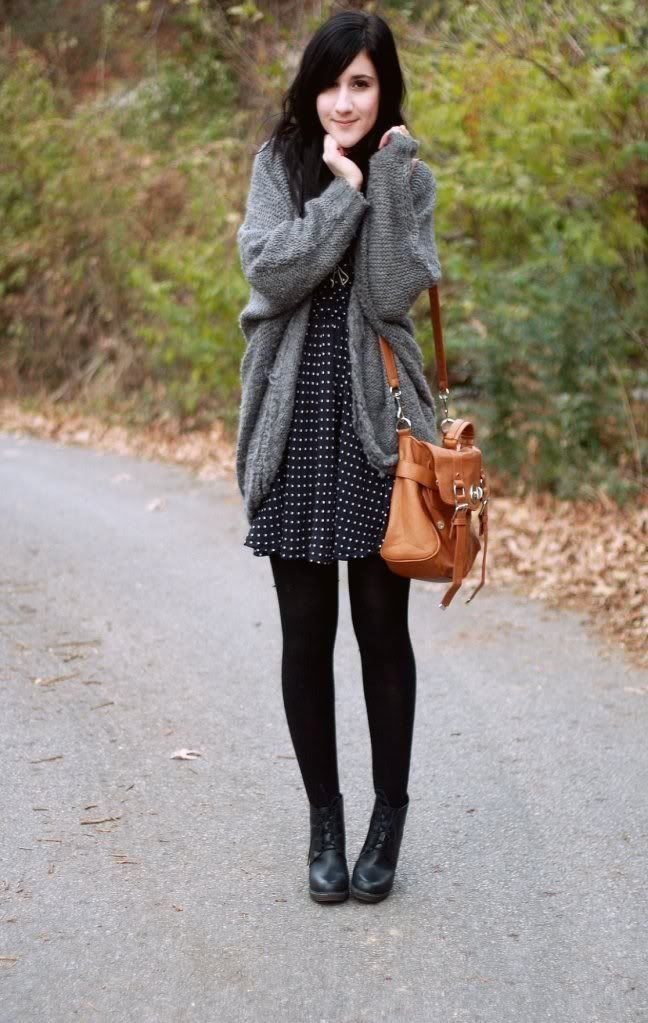 polka dot dress, black sweater, grey coccoon knit sweater, flat black boots - Top 25+ Best Polka Dot Cardigan Ideas On Pinterest Teaching