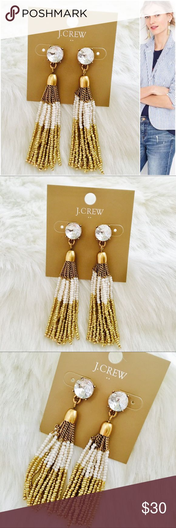 "J. Crew Two-tone Beaded Tassel Earrings Two-tone beaded tassel earrings. On-trend tassels. Get these now for, open house / wedding season or just because!  * Zinc casting, glass stone, glass seedbead. * Light gold ox plating. * Length: 3"". J. Crew Jewelry Earrings"