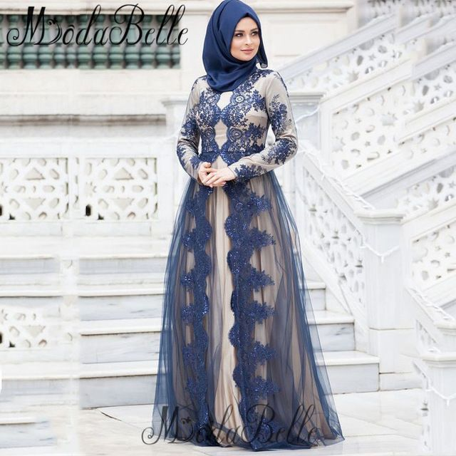 Robe Sirene Muslim Women Evening Dresses Long Sleeve Hijab Arab Party Dress Long Special Occasion Gown Formal Evening Dress 2017