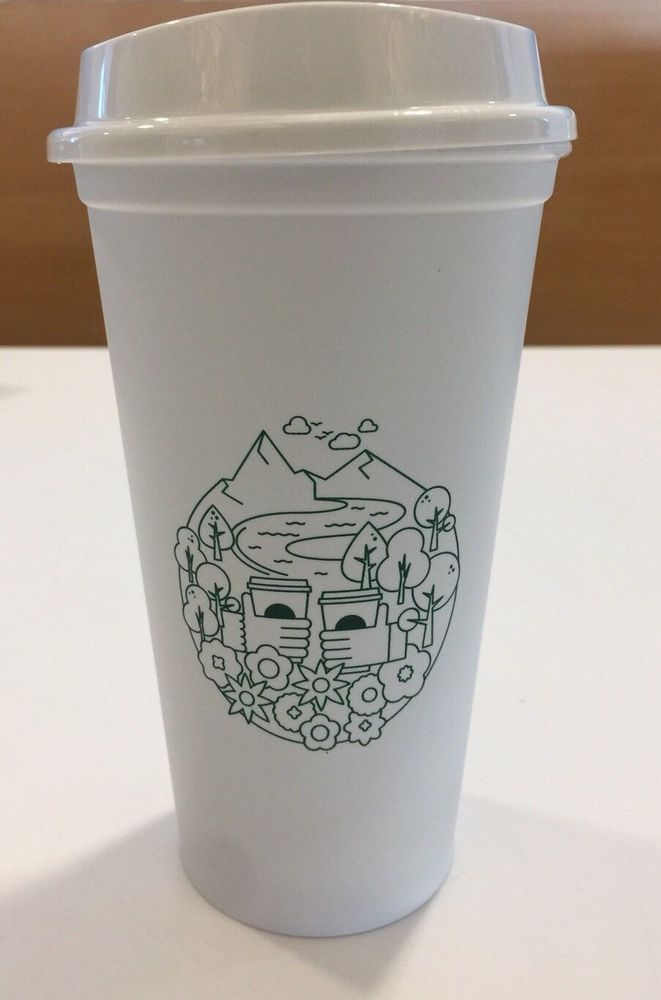 5bfccc1918a 2x Starbucks Reusable Cups Grande Earth Day 2018 English/French NEW # Starbucks