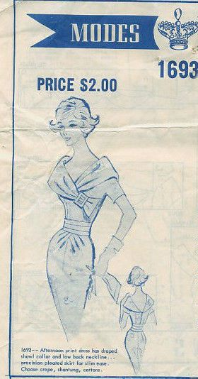 1950s Vintage Sewing Pattern B34 DRESS (R787) By  Modes Royale