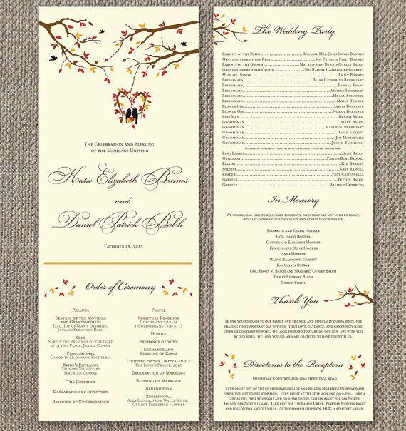 Fall Wedding Program. Modern Wedding. Autumn Ceremony. DIY. Leaves Program