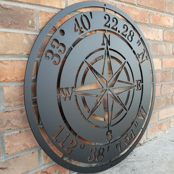 Personalized Compass Rose Metal Sign Custom Coordinates