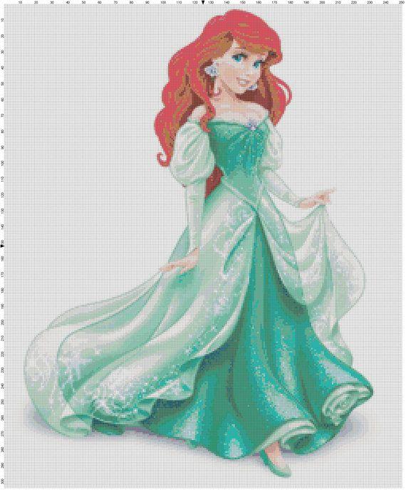 Ariel Disney Princess cross stitch pattern PDF by Bluegiantstitch, £2.20