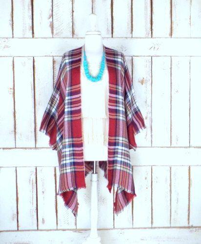 Red/ivory/blue plaid  woven fringe blanket kimono cover up/fall/winter tartan checker cardigan wrap/gypsy/boho festival poncho top/free size(ThreeFeathersStudio)