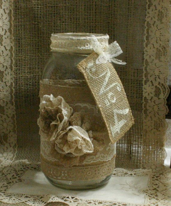 Burlap wedding FLOWER vase ViNTAGE LACE candle