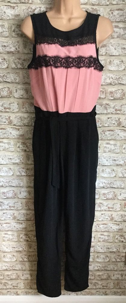 257723ce4fc DOROTHY PERKINS Pink And Black Lace Trim Jumpsuit UK Size 12  fashion   clothing  shoes  accessories  womensclothing  jumpsuitsrompers (ebay link)