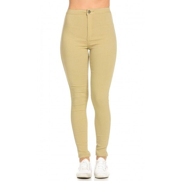 Super High Waisted Stretchy Skinny Jeans in Khaki ($25) ❤ liked on Polyvore featuring jeans, pants, bottoms, high-waisted jeans, stretch jeans, beige skinny jeans, stretchy skinny jeans and slim fit jeans