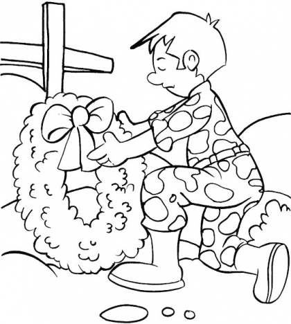 Give A Bouquet Of Flowers On His Friend Who Has Fallen Memorial Day Coloring For Kids