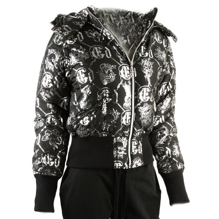 Ed Hardy Womens Logo Puffer Jacket -Black/Silver