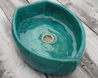 ... turchese lavello, bagno, lavabo, sotto banco, ciotola turchese su Etsy