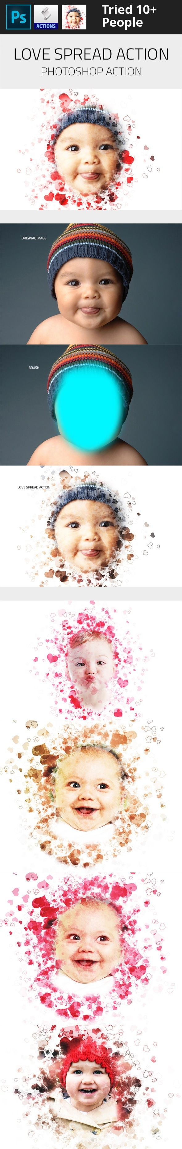 baby, banner, boy, brochure, child, design, effect, flyer, girl, love, photo, photoshop, poster, premium, pro, red, website Video Tutorial: How to use     	High detailed Love Spread Photoshop Action. Great Work with any image. Support 300 DPI. So you can use it in small or large picture.   	This action transforms your photos into professional looking Spread Love Shape. You have lots of layer control to adjust your results. The action has been tested and working on Photoshop (English…