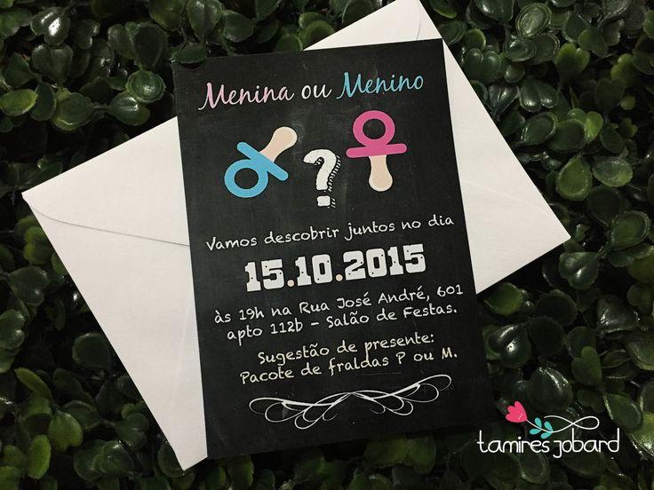 Convite Chá Revelação Sexo do Bebê | Tamires Jobard - Personalizados para Festas | Elo7