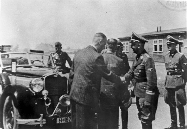 Auschwitz, Poland, Himmler visiting the site of IG Farben