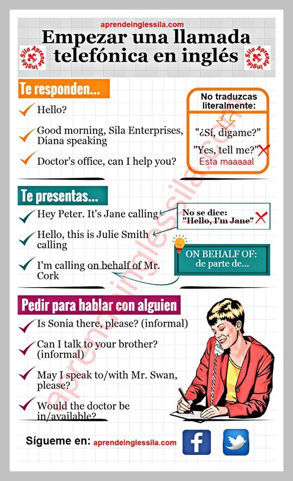 """""""Cuando llames por teléfono en #inglés recordarás con alegría esta infografía de @InglesSila ;)"""""""