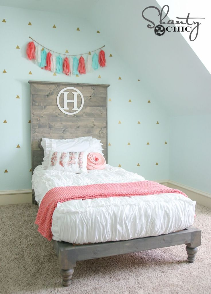 ♥ | DIY Twin Platform Bed and Headboard FREE plans and full woodworking how-to tutorial by Shanty2Chic!
